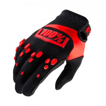 Guantes motocross 100% Airmatic Black Red Niño