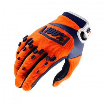 Guantes motocross 100% Airmatic Orange Navy Niño