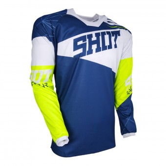 Camiseta Motocross SHOT Contact Infinite Blue White Neon Yellow