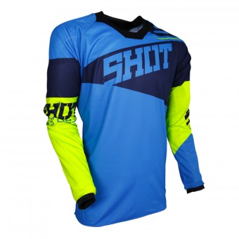 Camiseta Motocross SHOT Contact Infinite Blue Neon Yellow