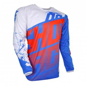 Camiseta Motocross SHOT Devo Venom Blue White Neon Orange Niño