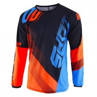 5870ba2cc3c Camiseta Motocross SHOT Devo Ultimate Azul Neon Naranja Niño