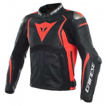 Cazadora moto Dainese Mugello Leather Black Fluo Red