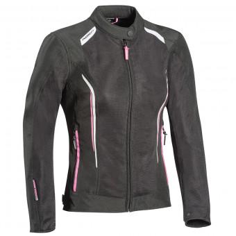 Cazadora moto Ixon Cool Air Lady Black White Pink