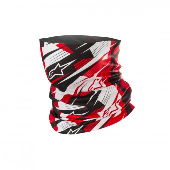Braga Moto Alpinestars Blurred Neck Tube Negro Blanco Rojo