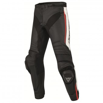 Pantalones moto Dainese Misano Perforated Black White Red Fluo