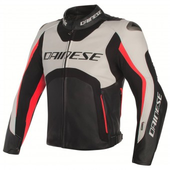 Cazadora moto Dainese Misano D-Air White Black Red Fluo