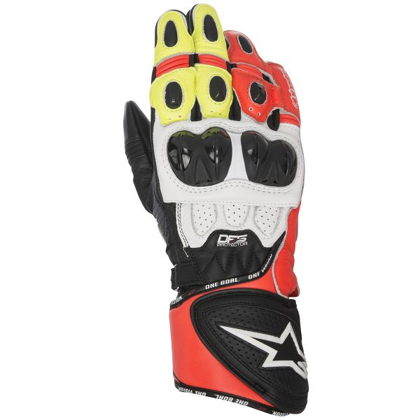 9189122a39a Guantes moto Alpinestars GP Plus R Black White Red Yellow Fluo Envío ...
