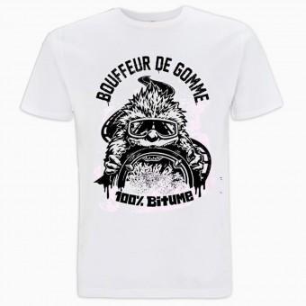 Camisetas Moto 100% Bitume Bouffeur de Gomme Blanc