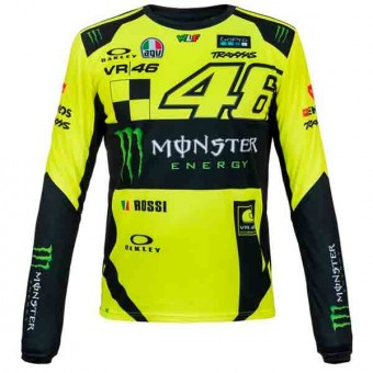 Camisetas Moto VR 46 T-Shirt Manga Larga Monster VR46 Amarillo Fluo