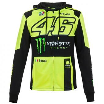 Chaquetas VR 46 Hoodie Zip Replica Monster VR46 Amarillo Fluo